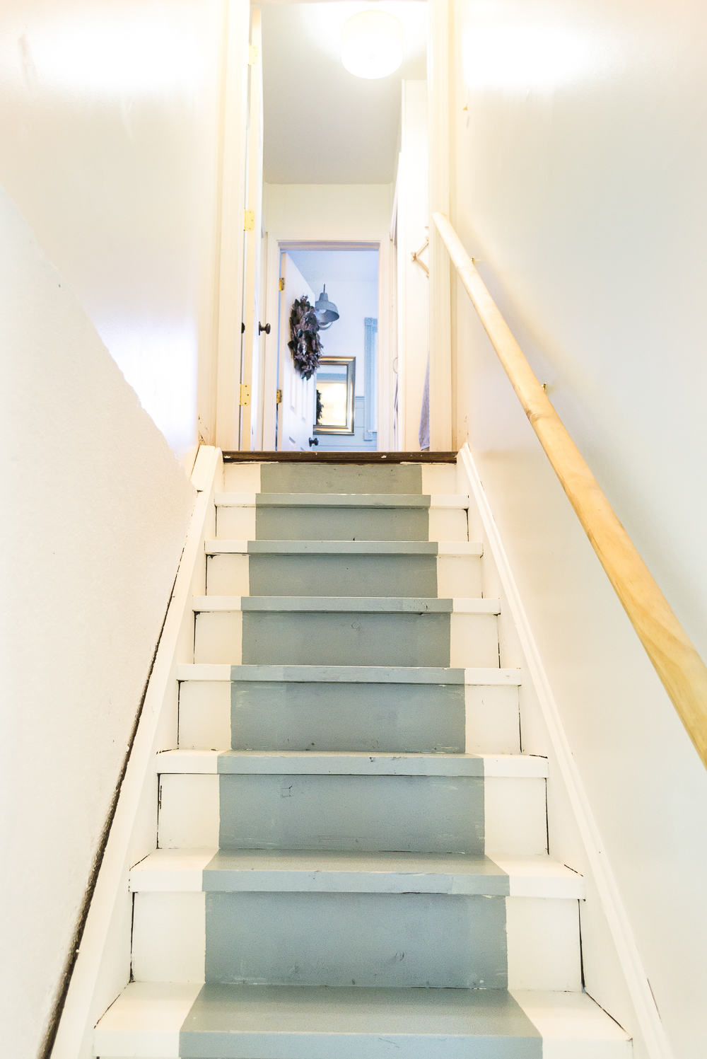 basement stairs. How To Paint Basement Stairs And Give Wood A Fresh Farmhouse Style.