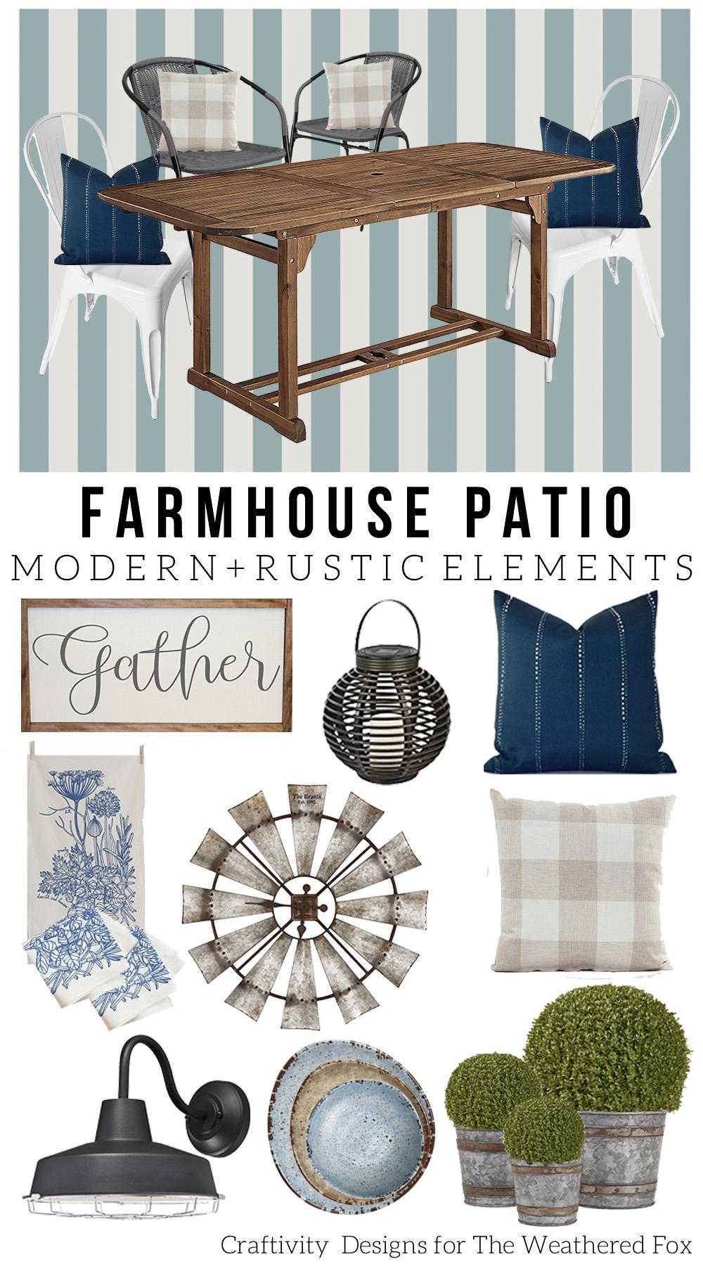 Farmhouse Patio Design Board, Mood Board