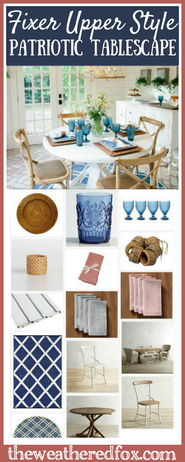A Patriotic Tablescape inspired by Fixer Upper Style
