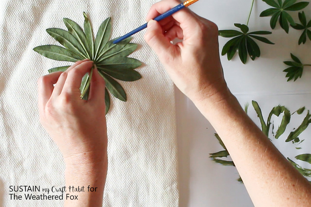 diy leaf stamped outdoor pillow covers - the weathered fox Diy Pillow Covers