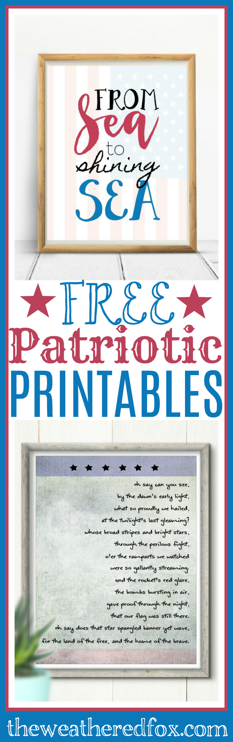 Free Patriotic Printables for your Fourth of July, summer decor, or other patriotic party!