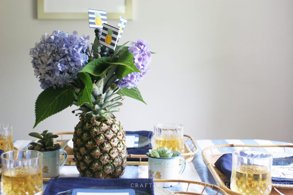 Simple Pineapple Centerpiece with Hydrangeas and Blueberries. Free Pineapple Party Printable. Craftivity Designs for the Weathered Fox