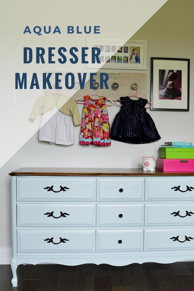 Aqua Blue Dresser Makeover Using Milk Paint