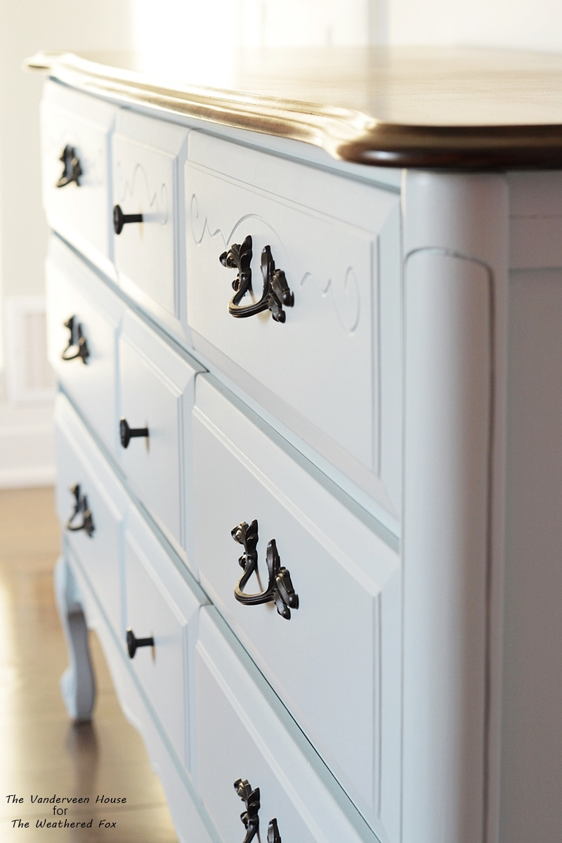 Aqua blue dresser makeover using General finishes milk paint