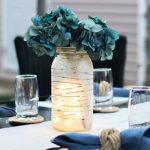 Summer Centerpiece Idea: Frosted Glass Jar Lantern