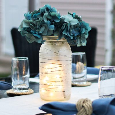 Summer Centerpiece Idea: Frosted Glass Jar Lantern