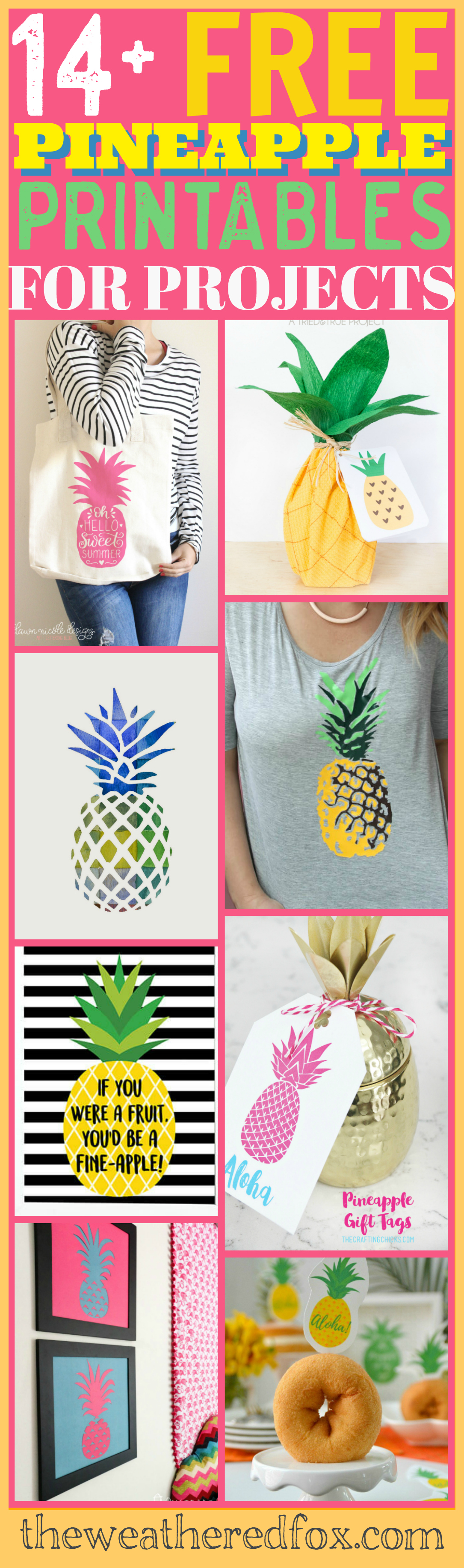 graphic regarding Free Printable Pineapple identified as Pineapple Printables for Your Up coming Undertaking! - The Weathered Fox