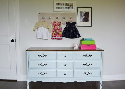French provincial dresser makeover using light blue milk paint