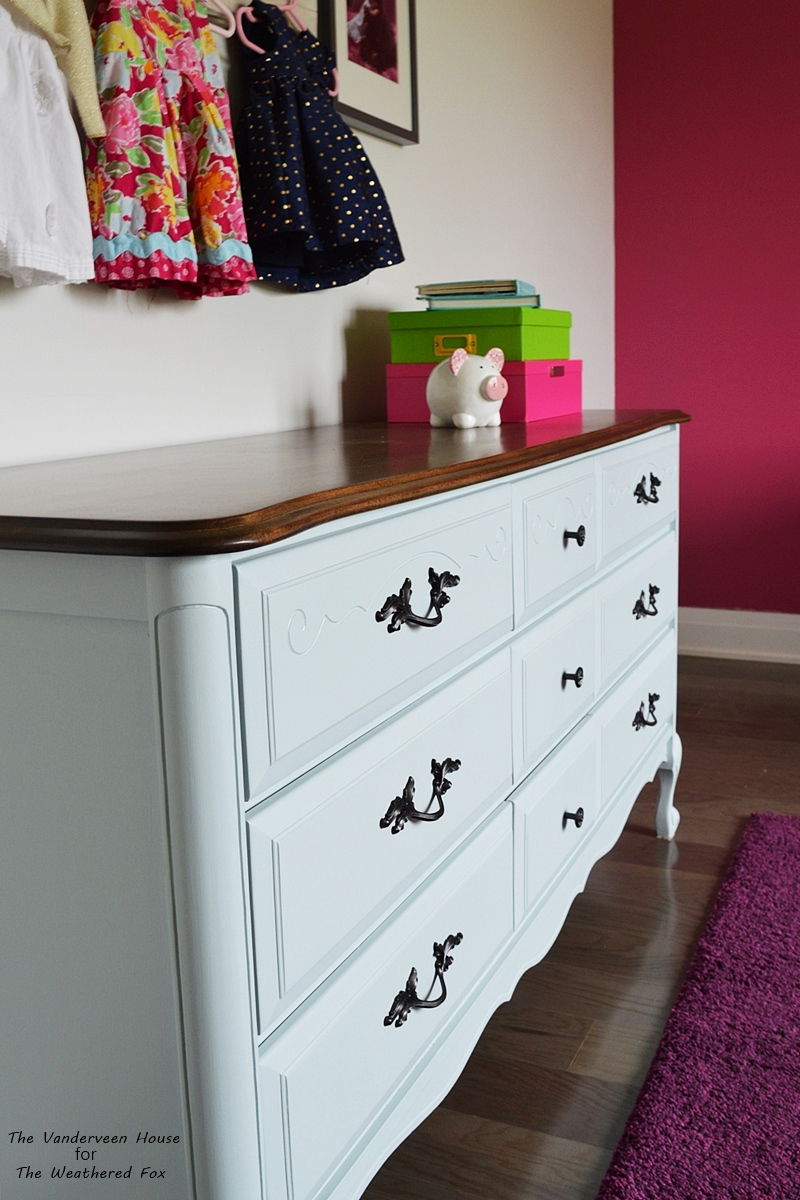Light blue french provincial dresser makeover with oil rubbed bronze hardware