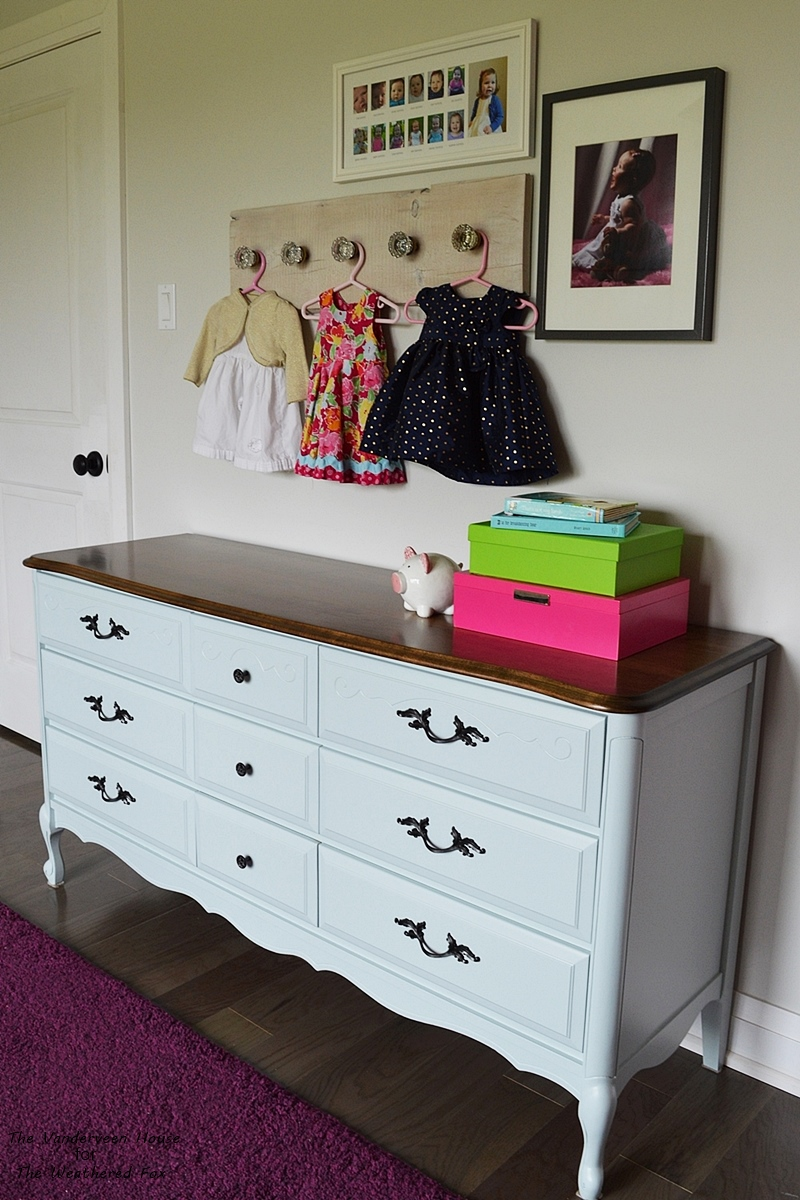 Aqua blue dresser makeover using general finishes persian blue and snow white milk paint
