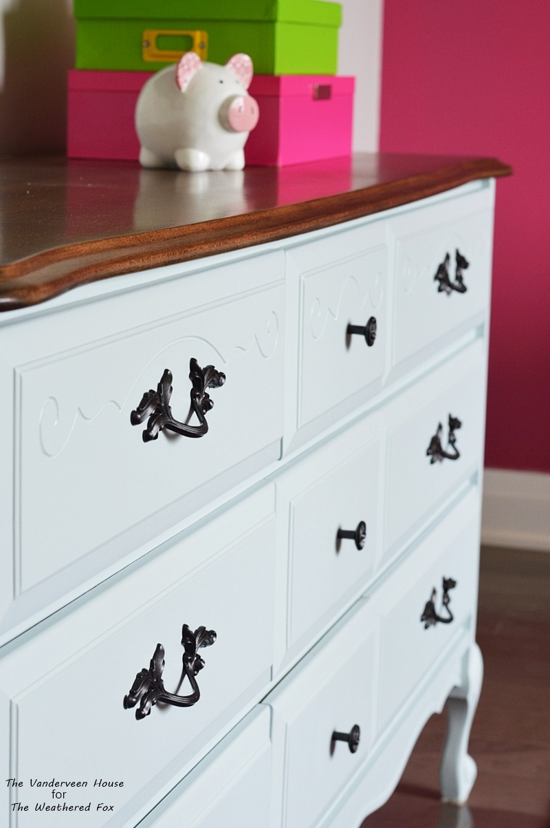 French provincial light blue dresser makeover using general finishes milk paint persian blue and snow white