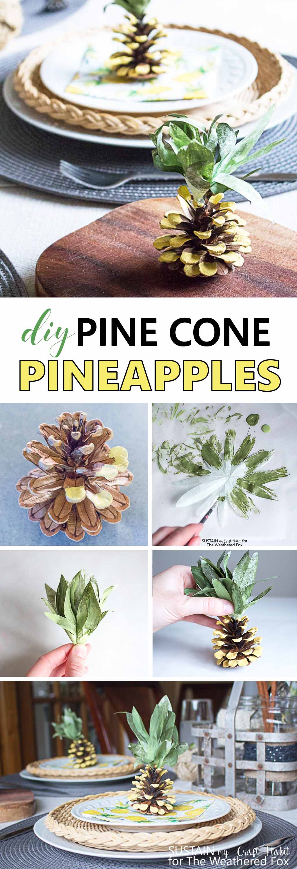 Too adorable! Make these adorable napkin weights for your next pineapple party! Tutorial for making DIY pine cone pineapples.