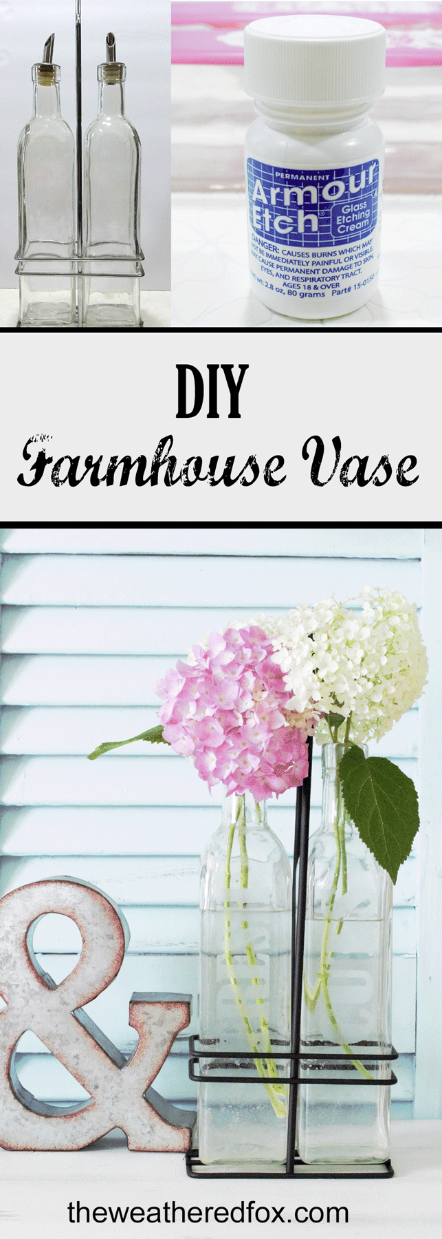 Creating a DIY farmhouse vase is easy using some upcylced bottles and etching cream. I love the clean, farmhouse style and these will blend perfectly! - www.theweatheredfox.net