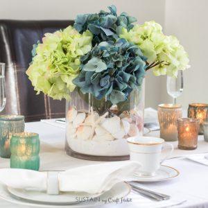 Beachy wedding tablescape