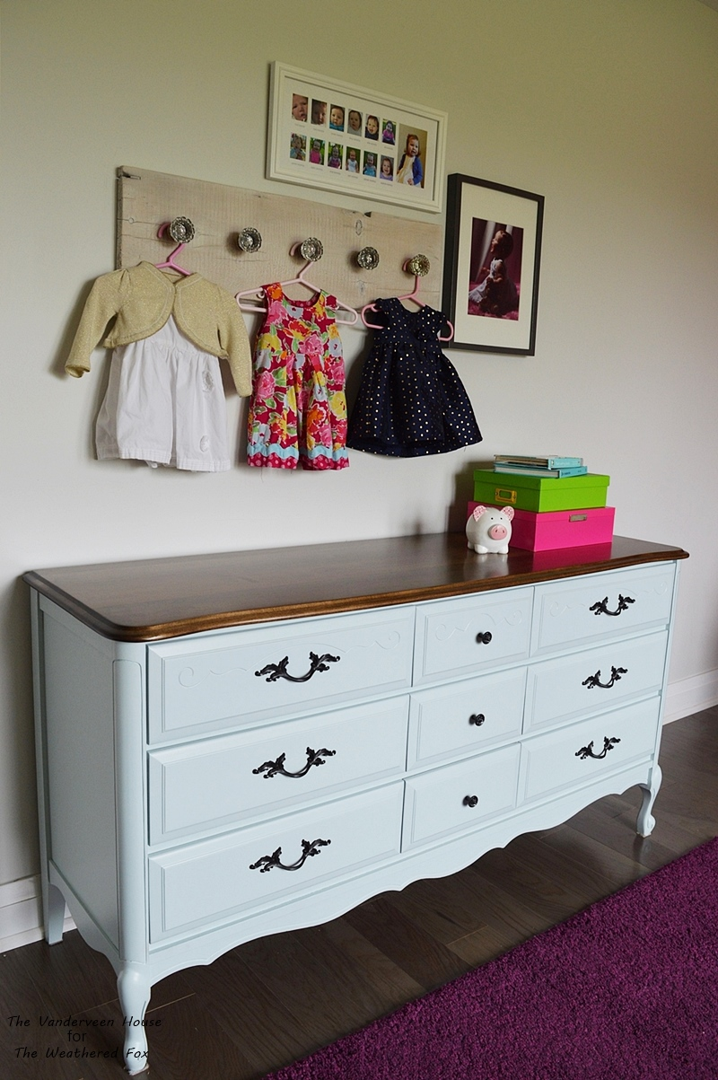 French provincial dresser makeover using general finishes milk paint. Blue dresser makeover