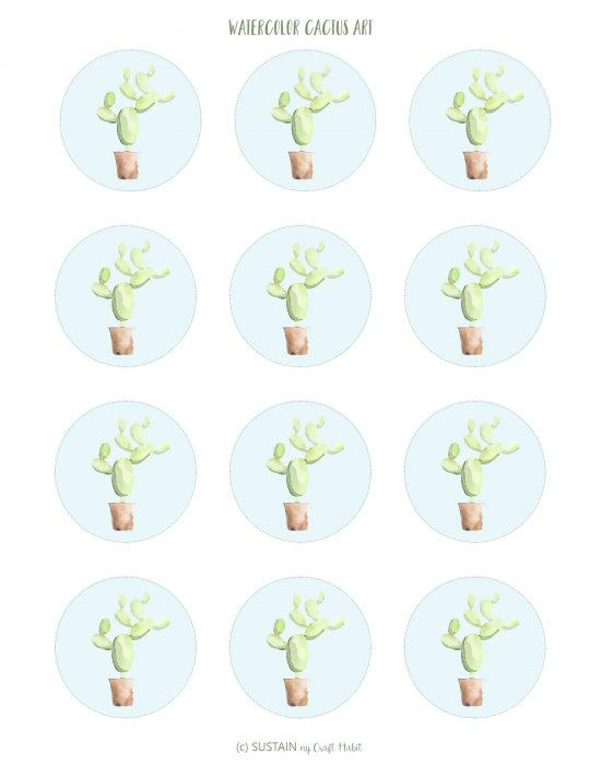 Free printable watercolor cactus art in blue
