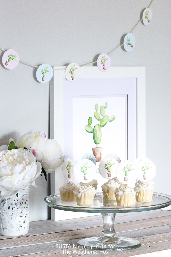 Perfect for a cactus party or shower! Free printable watercolor cactus cupcake toppers.