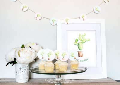 Free watercolor cactus printables! Cupcake toppers, garland and more. Perfect for a tropical birthday party, bridal or baby shower.