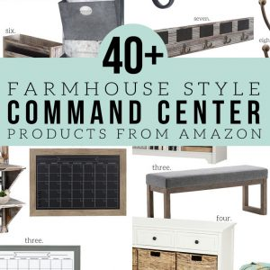 How to Make a Farmhouse Style Command Center with products from Amazon. Hooks, Mail Sorters, Calendars, Message Boards, Benches and more -- picked out for you!