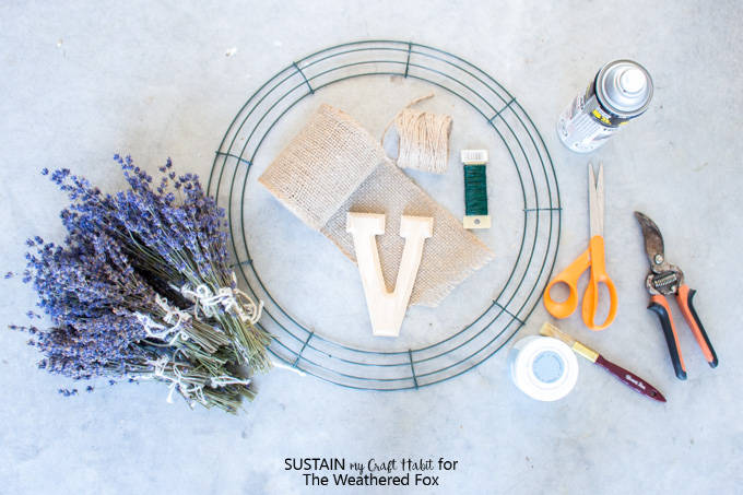 Materials needed to make a lavender wreath with burlap