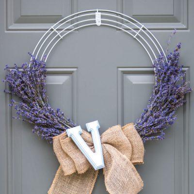 Simple Farmhouse Lavender Wreath with Burlap
