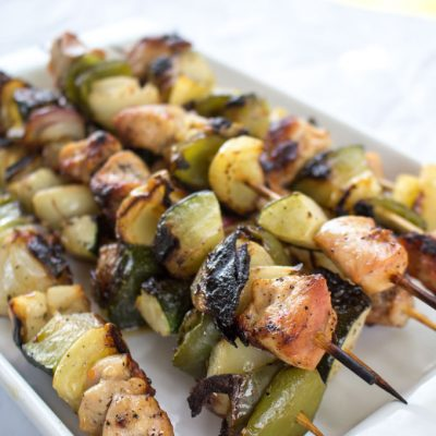 Grilled Chicken Shish Kabob with Creamy Dill Dip