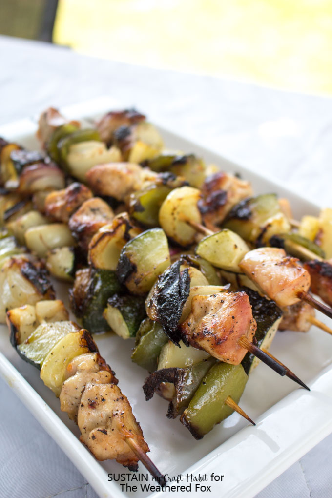 Simple grilled chicken shish kabob recipe with a creamy dill dip. Delicious low-fat, gluten free dinner or BBQ idea!