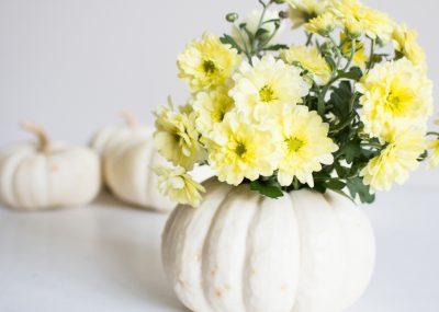 Simple fall decorating ideas including mini fresh pumpkin vase