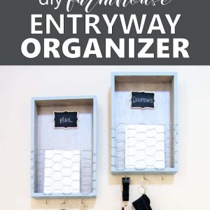 Get your home organized with a DIY entryway organizer. This farmhouse style home organization idea is a great place for your keys, coupons and to sort incoming mail! Full tutorial included.