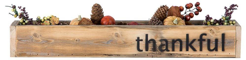 Thanksgiving wood trough centerpiece
