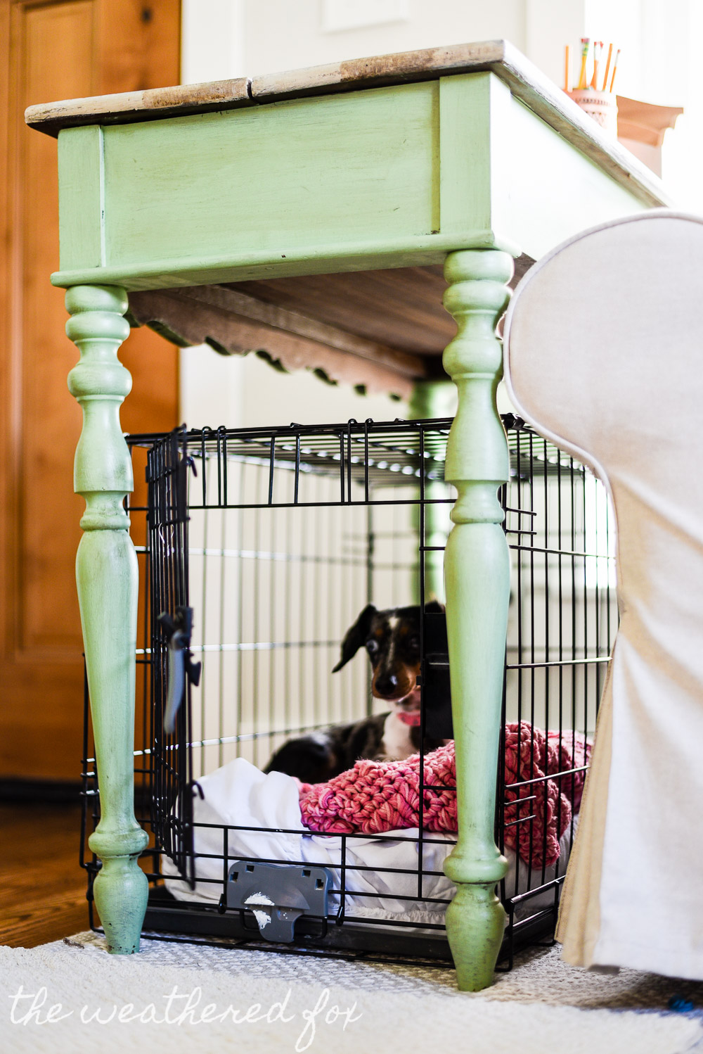 Diy Dog Crate Cover Ten Minute Farmhouse Style Ikea
