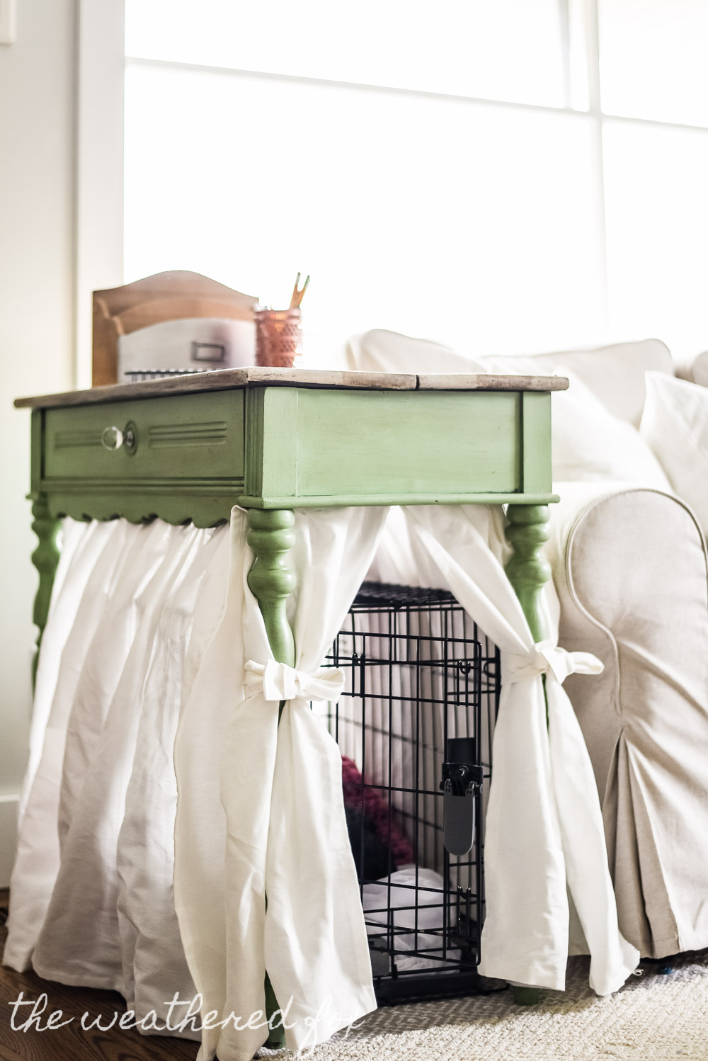 Diy Dog Crate Cover Ten Minute Farmhouse Style Ikea Curtain Hack For Small Es