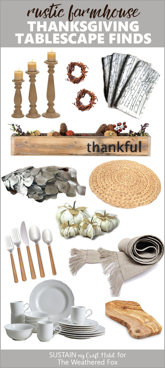 Create a gorgeous rustic farmhouse Thanksgiving tablescape with these budget-friendly items. #Thanksgiving #shoppingguide #tablescape #modernfarmhouse #fixerupper