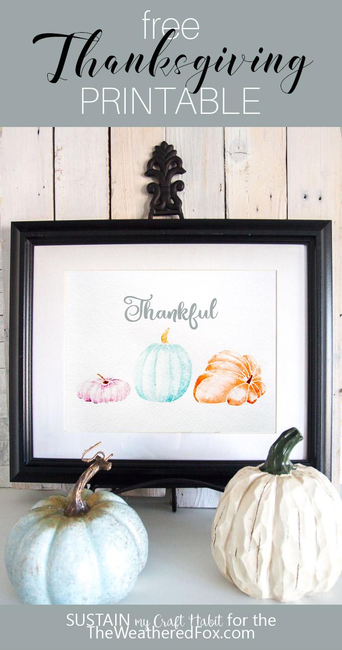 Free #Thanksgiving art printable | Watercolor# pumpkin art print | Free fall wall decor print | #Thankful print