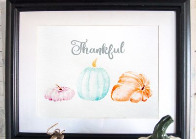 Free printable art for Thanksgiving | Watercolor #pumpkins | Printable Fall #watercolour painting | #Thankful
