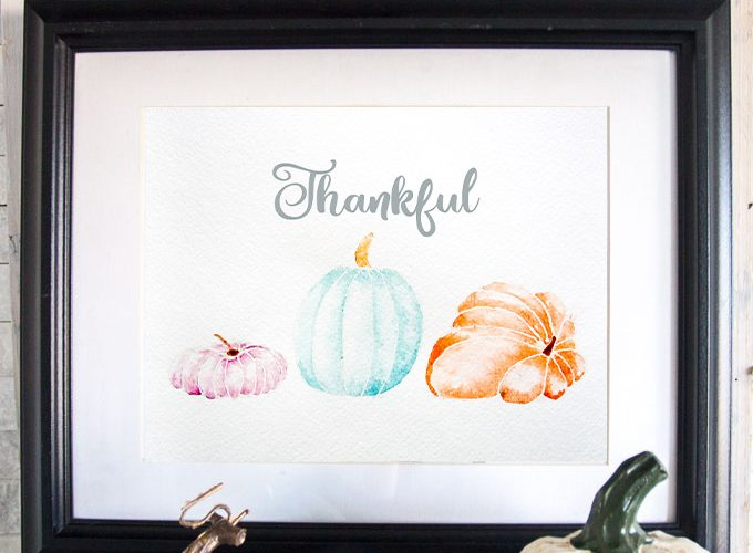 Free printable art for Thanksgiving   Watercolor #pumpkins   Printable Fall #watercolour painting   #Thankful