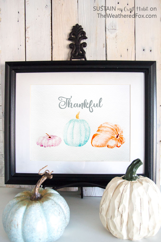 Free printable art for #Thanksgiving | Watercolor #pumpkins | Printable Fall #watercolour painting | #Thankful | Thanksgiving art
