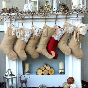 burlap and lace farmhouse christmas stocking