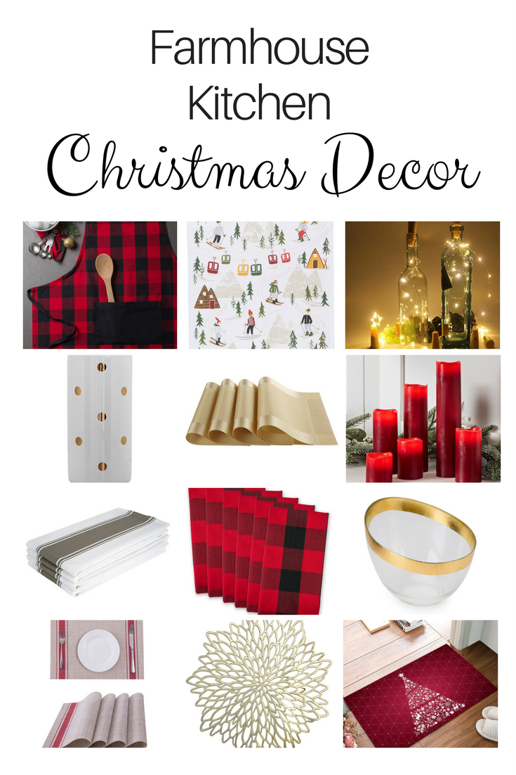 red and gold farmhouse kitchen christmas decor
