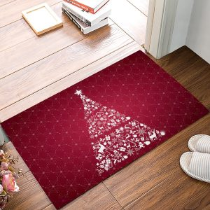 red christmas kitchen mat
