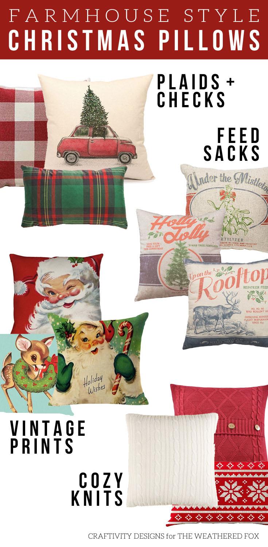 Christmas Pillows, Farmhouse Style, Plaids, Checks, Vintage, Feed Sack, Knits, Farmhouse Christmas #farmhouse #christmas #christmaspillows