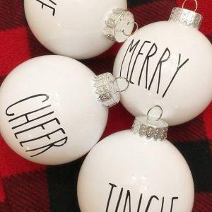 glass white ornaments