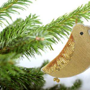gold sparrow ornament