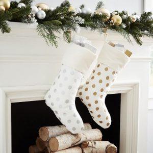 metallic dot stocking