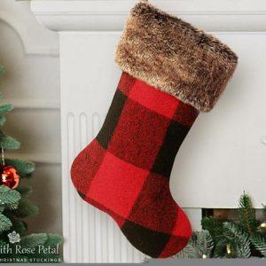 plaid farmhouse christmas stocking
