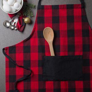 red plaid christmas apron