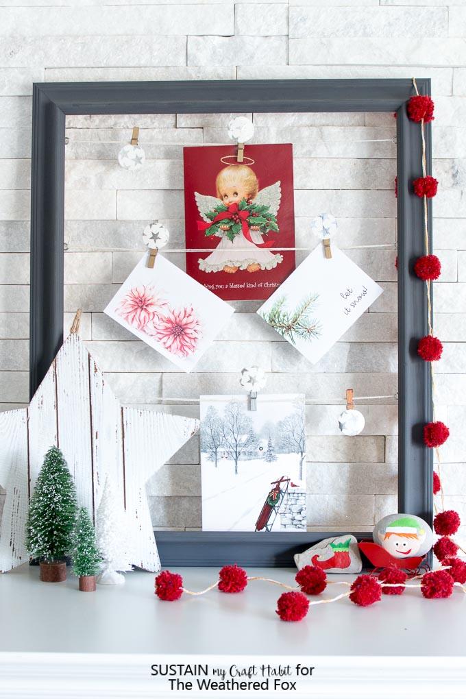 DIY photo clips and simple Christmas mantel ideas