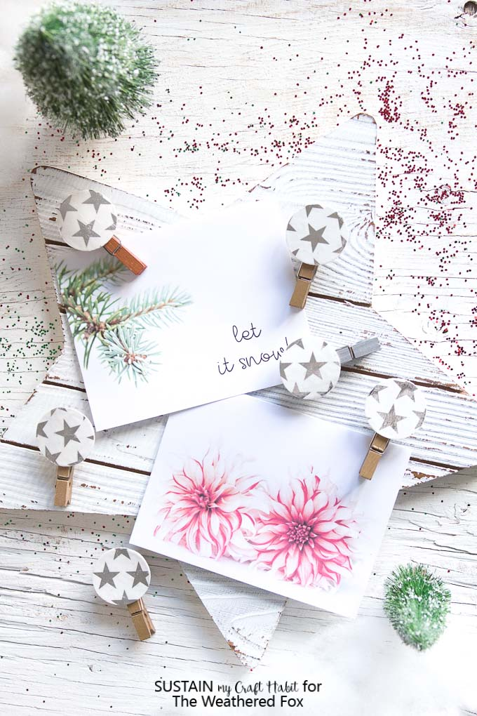 Beautiful holiday themed greeting cards and star DIY photo display clips.