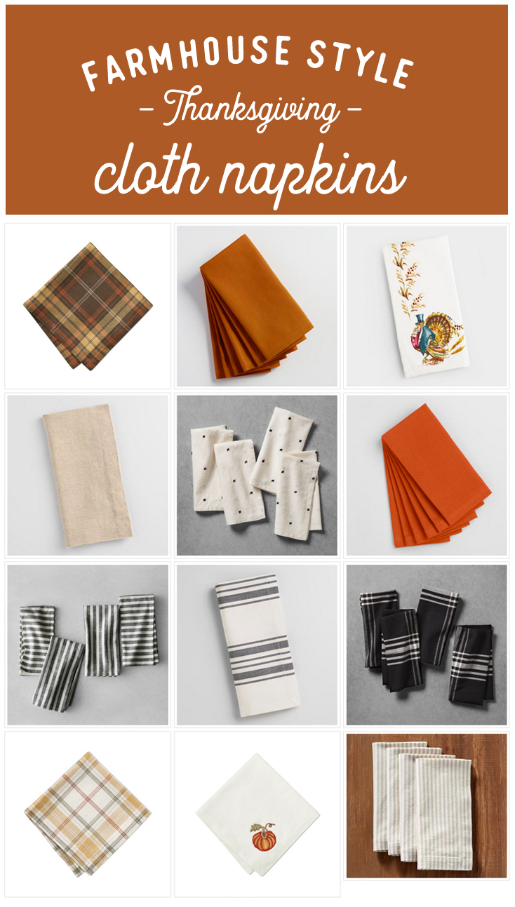 Farmhouse Style Thanksgiving Napkins, Fall Cloth Napkins, Thanksgiving Table Setting, Fall Table Setting, Thanksgiving Table Linens,