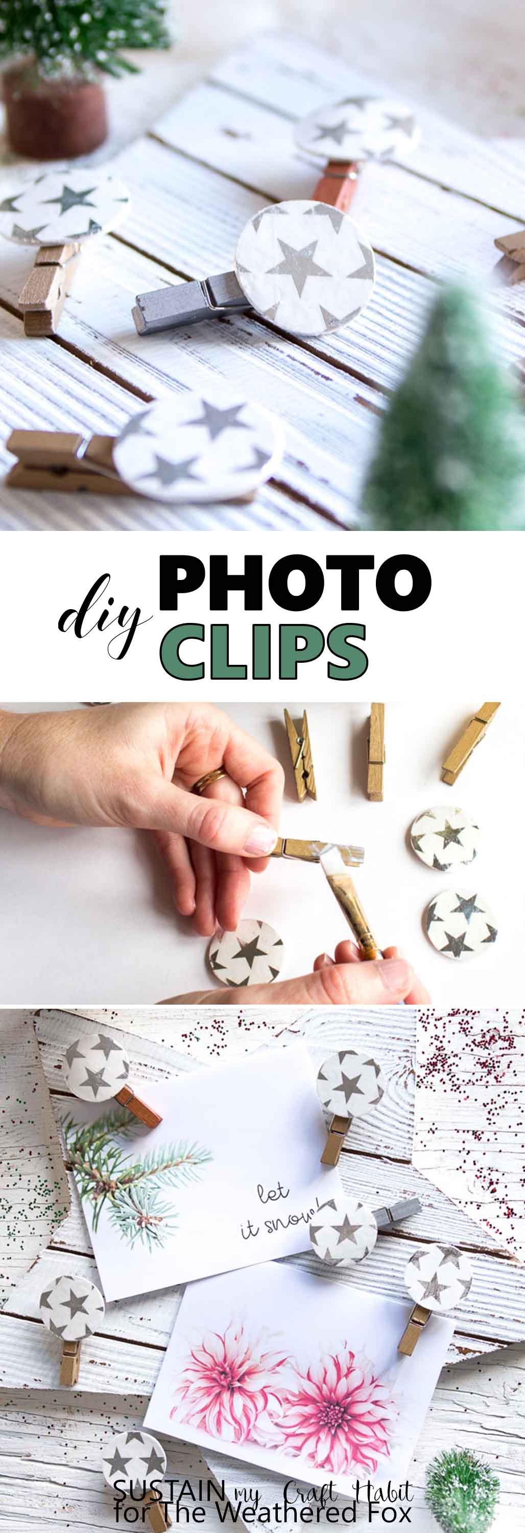 Make these adorable DIY photo clips for your Christmas card display or family photos. Crafts with wood circles. Christmas mantel greeting card display. #Christmasmantel #decoupage #crafts #photodisplay